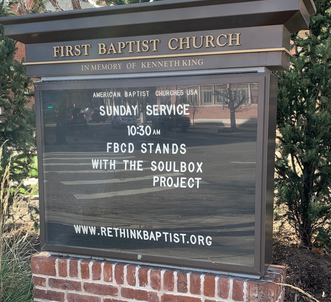 Sign board for Sunday Service with The Soul Box Project, First Baptist Church, Denver