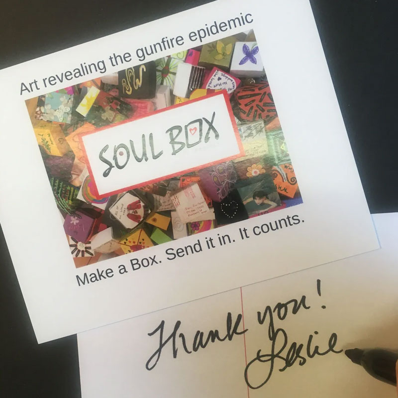 Thank you notecard from Soul Box