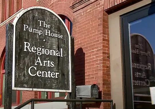 Exterior sign for The Pump House Regional Arts Center