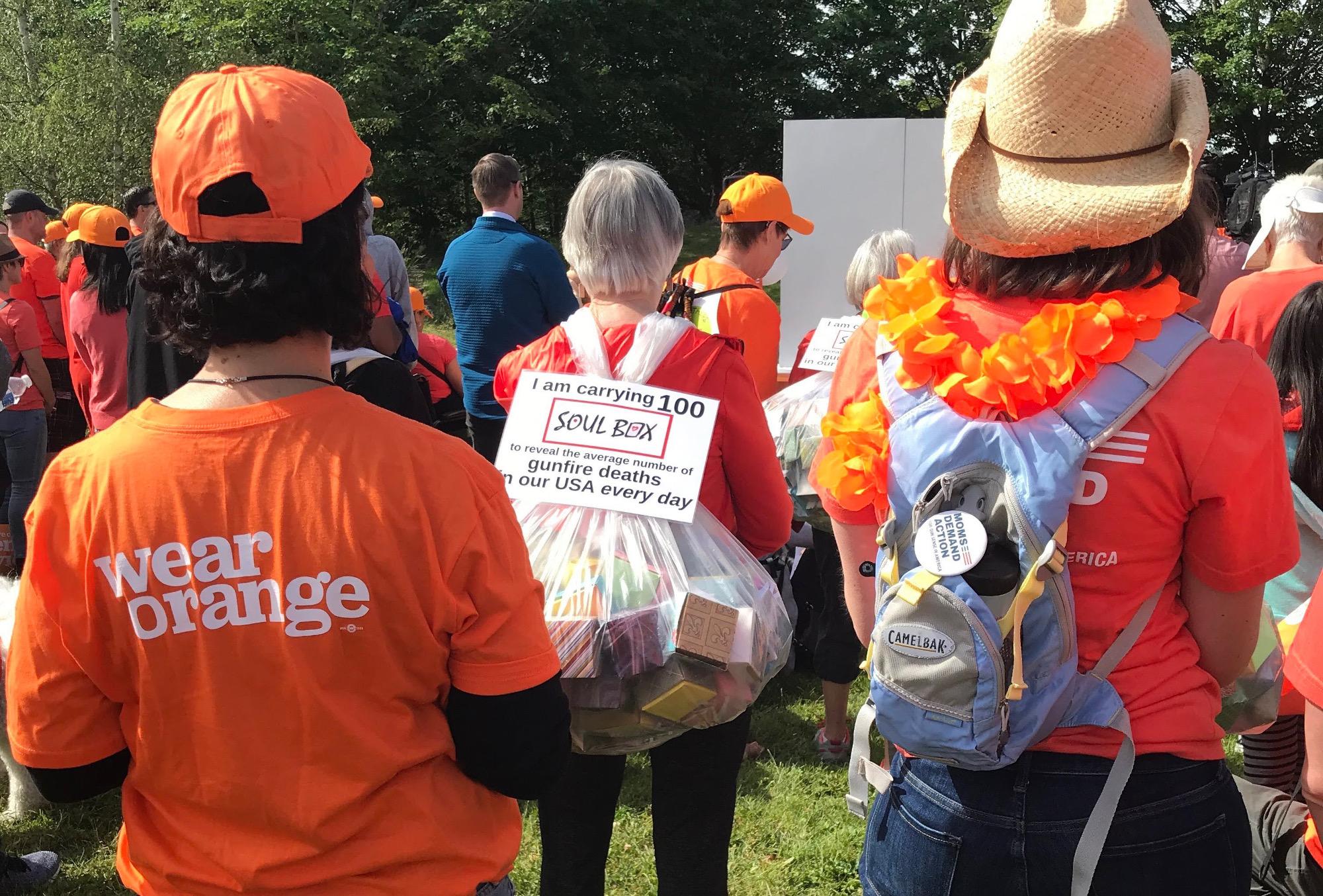 Soul Box backpack at a Wear Orange event