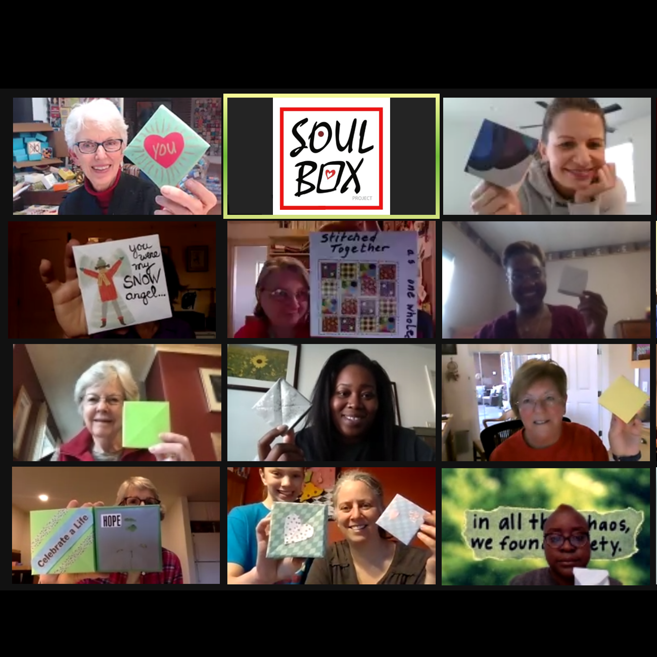11 people show Soul Boxes they folded in virtual gathering via Zoom