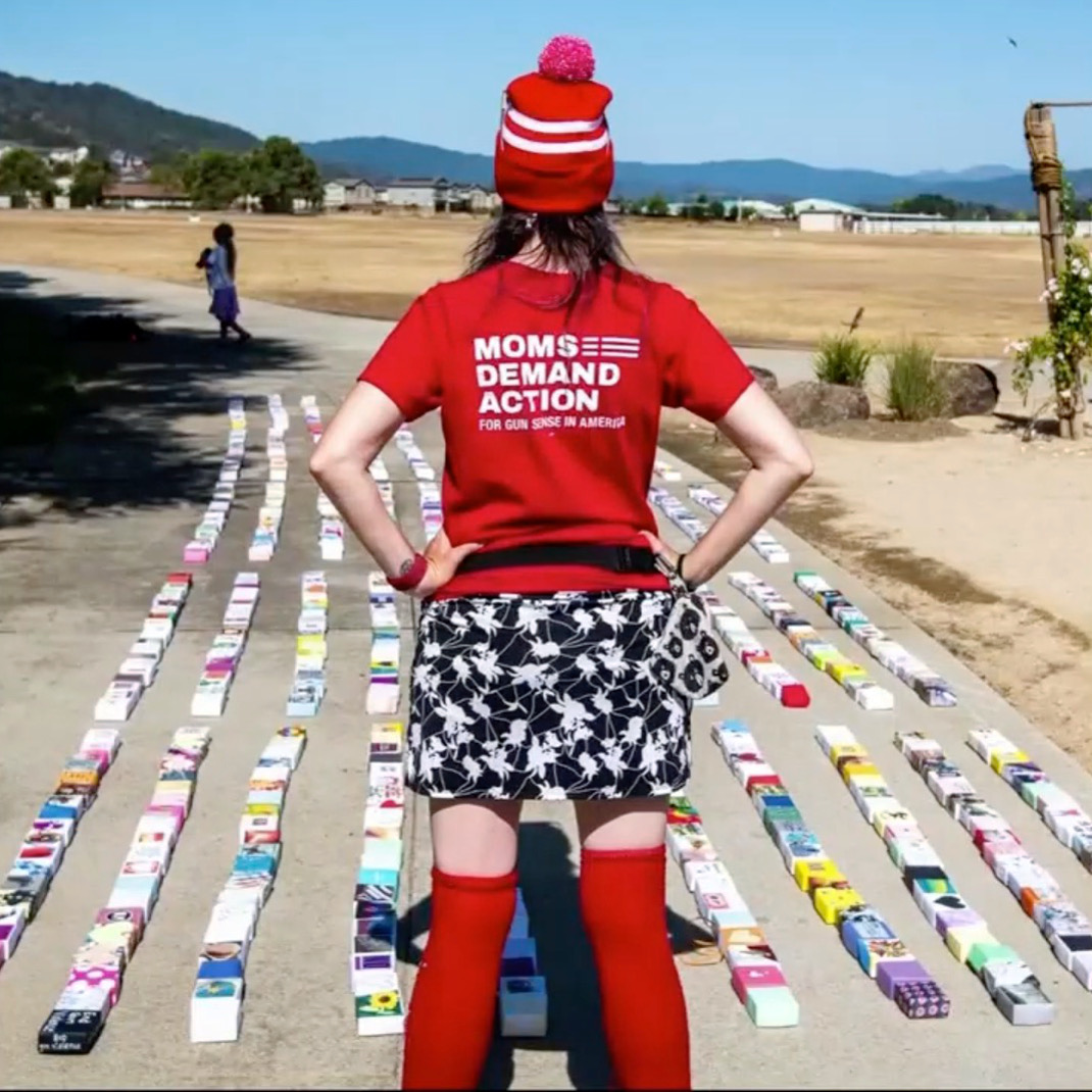 Moms Demand Action (San Jose): Lay Soul Boxes in lines on pavement in remembrance of 2019 shootings at the Garlic Festival, Gilroy, CA