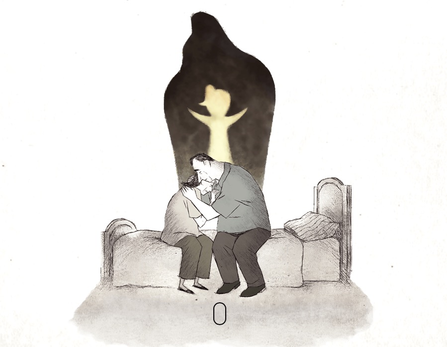 """illustration of couple grieving lost child from short film, """"If Anything Happens I Love You"""""""