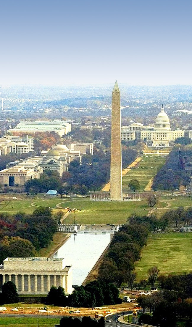 aerial view of National Mall: Washington Monument to Capitol