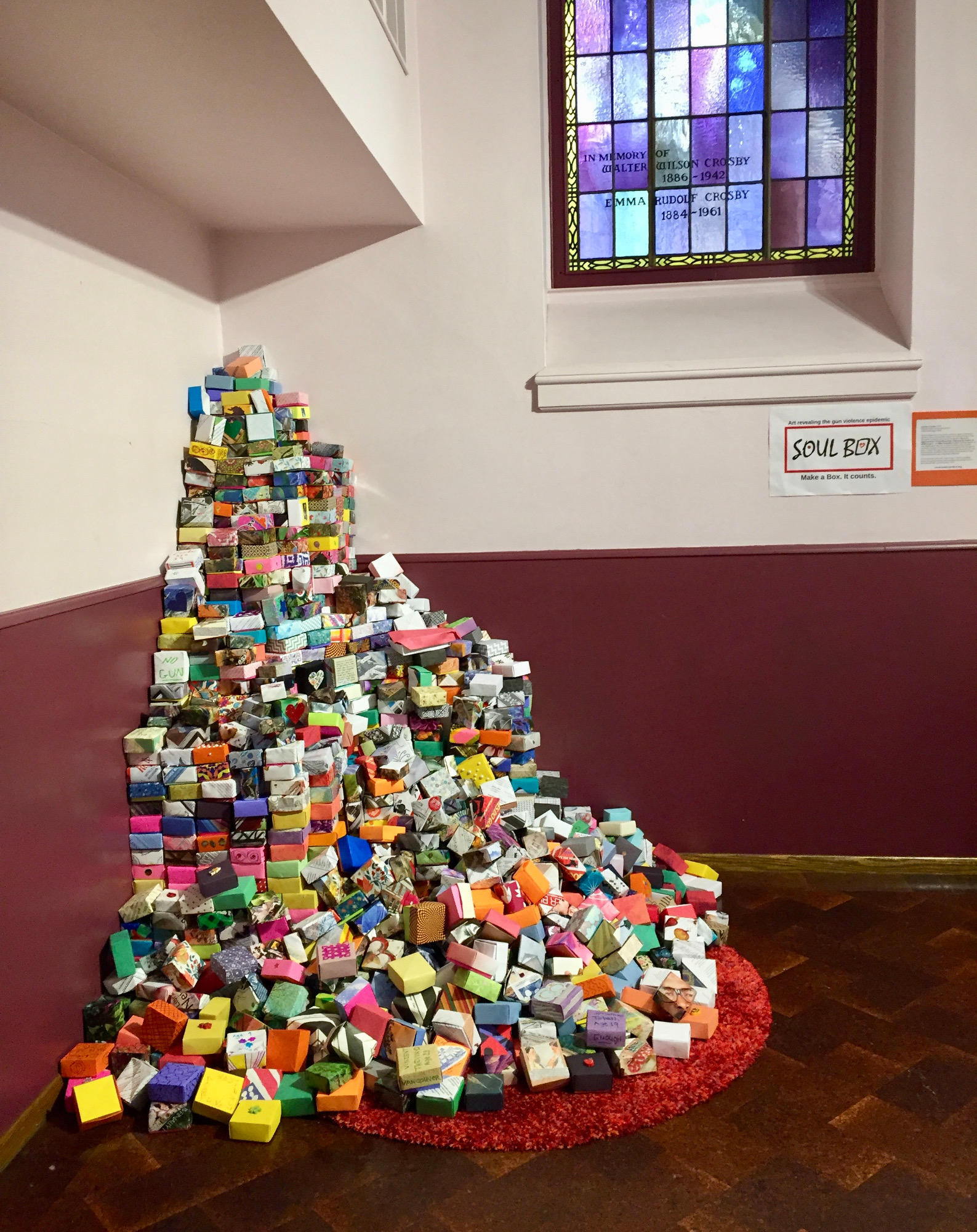 Tall corner pile of Soul Boxes in a Portland church