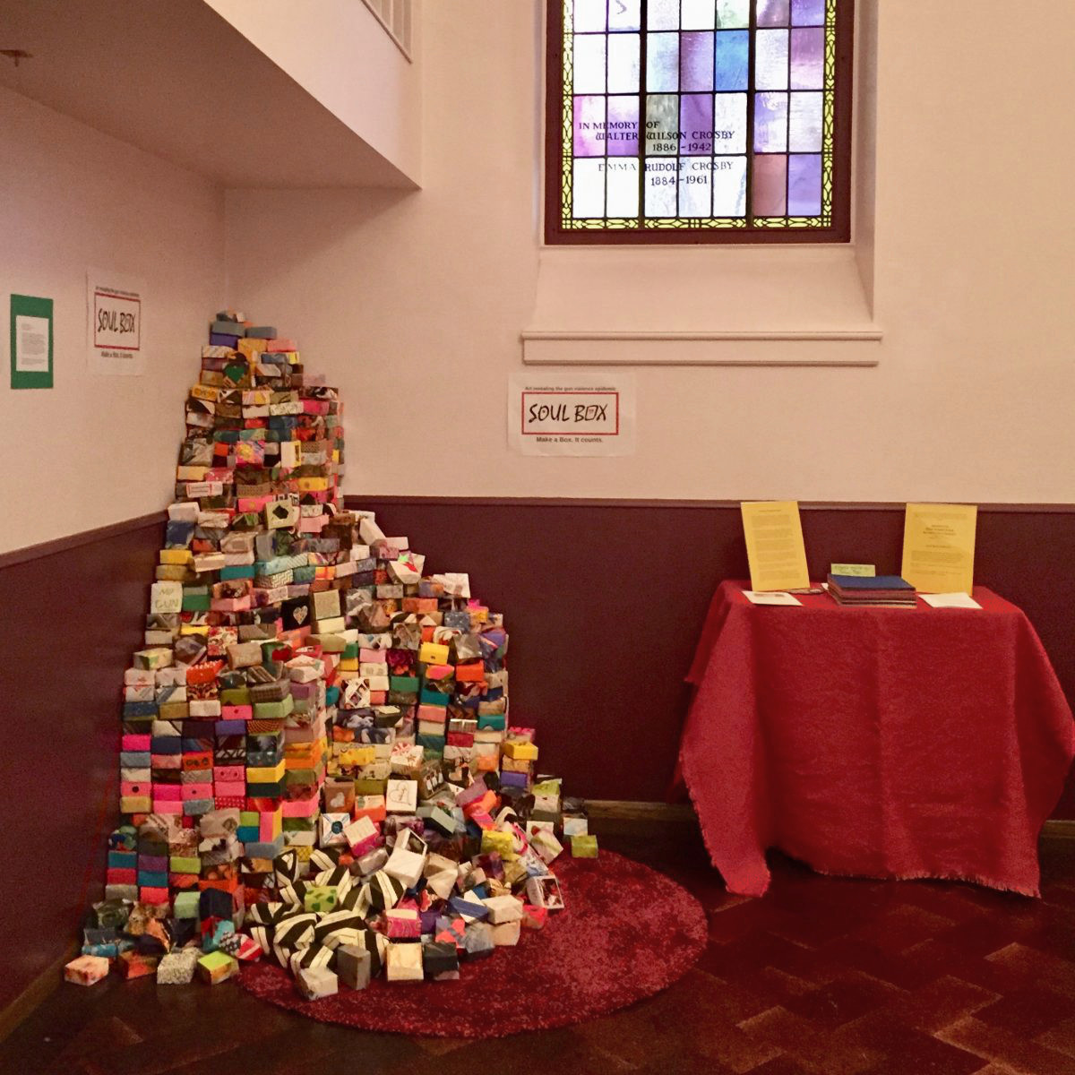 Soul Boxes form a dramatic 5-foot-tall pile, The First Congregational Church of Christ, Portland, OR