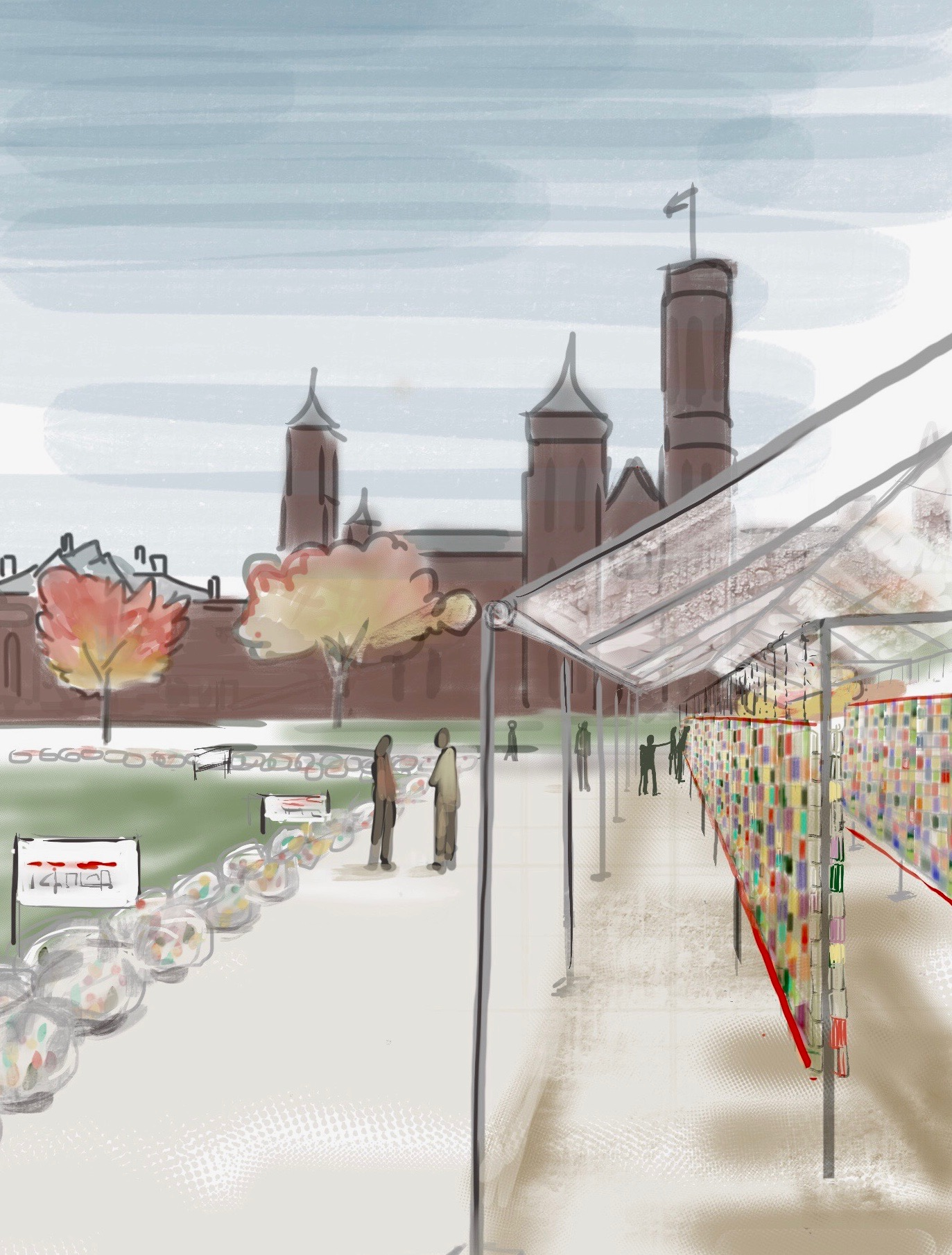 Artist's rendering of Soul Box exhibit in front of the Smithsonian Castle